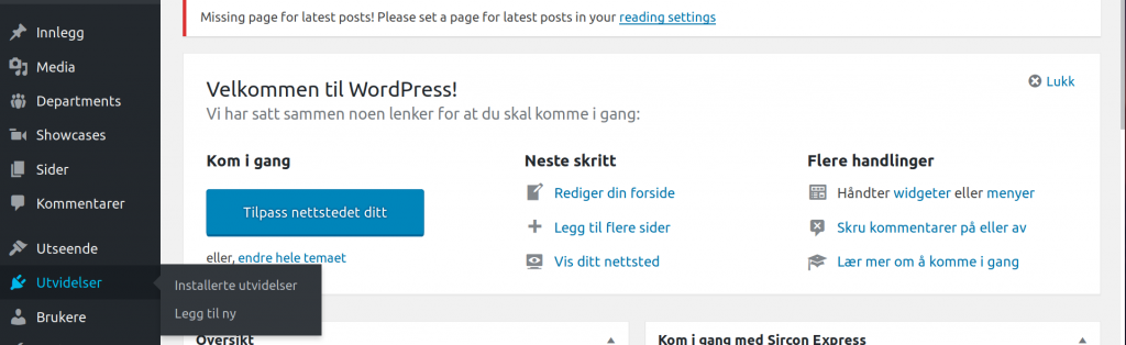 oppsett av wordpress