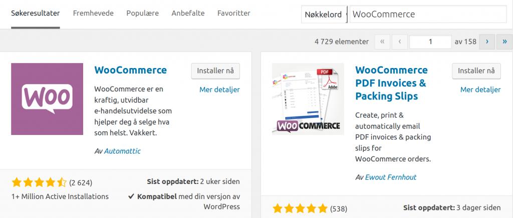 Woocommerce søkeresultat