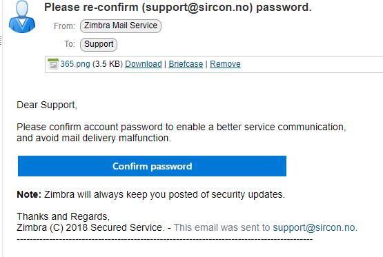 Skjermbilde av e-posten hvor de forsøker å få deg til å oppgi påloggingsdetaljer