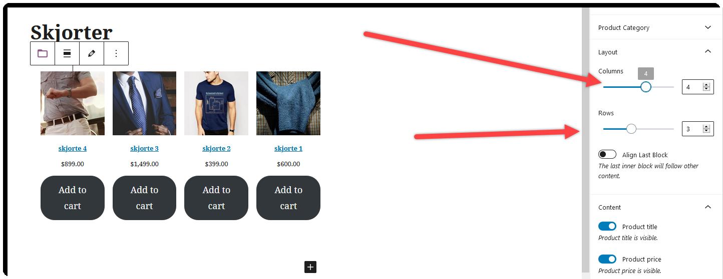 Legg til produkter fra nettbutikken på nettside