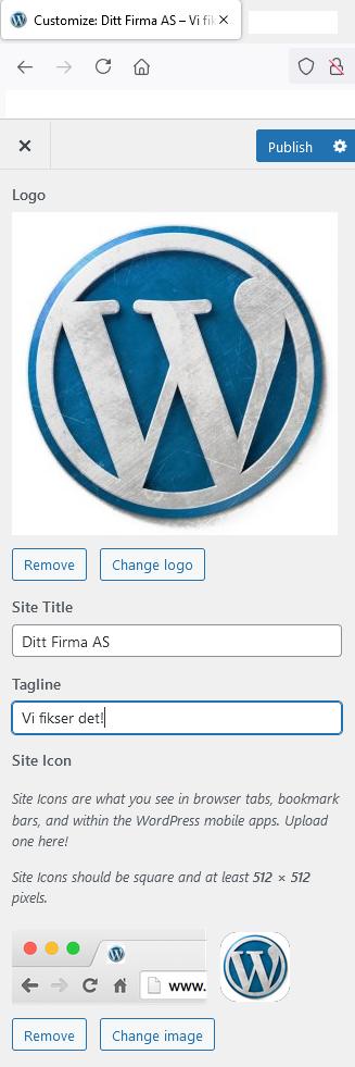 endre logo på nettside i WordPress